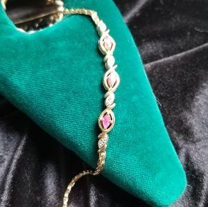 Jewelry - 925 SS Gold Tone Red Topaz Bracelet EUC